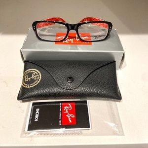 RAY-BAN RB5223 2479 Eyeglasses Black & Red texture